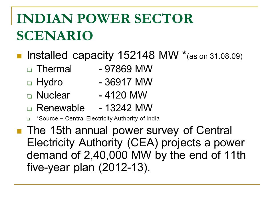 INDIAN POWER SECTOR SCENARIO