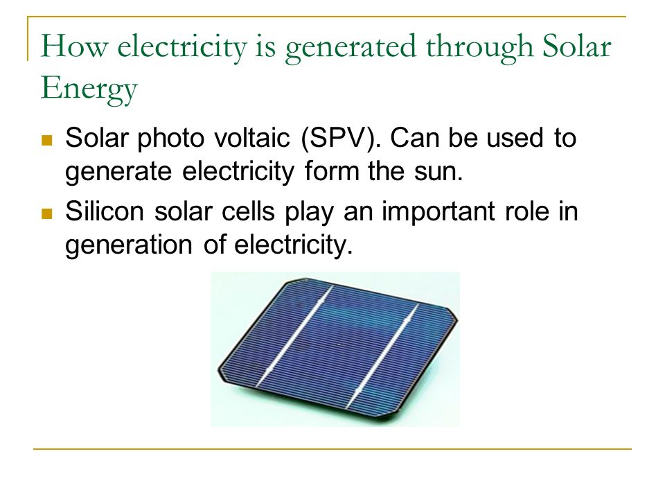 How electricity is generated through Solar Energy