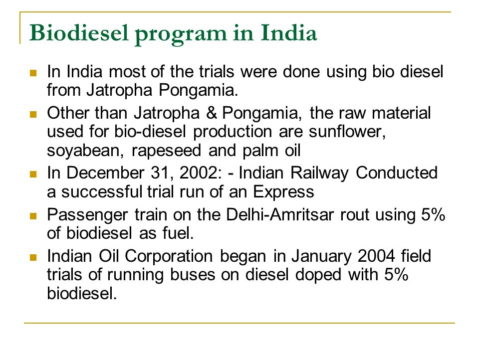 Biodiesel program in India