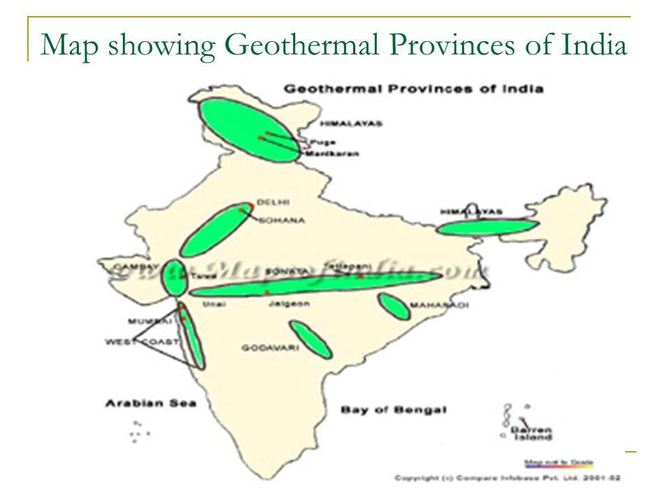 Map showing Geothermal Provinces of India