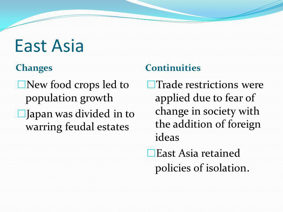East Asia New food crops led to population growth