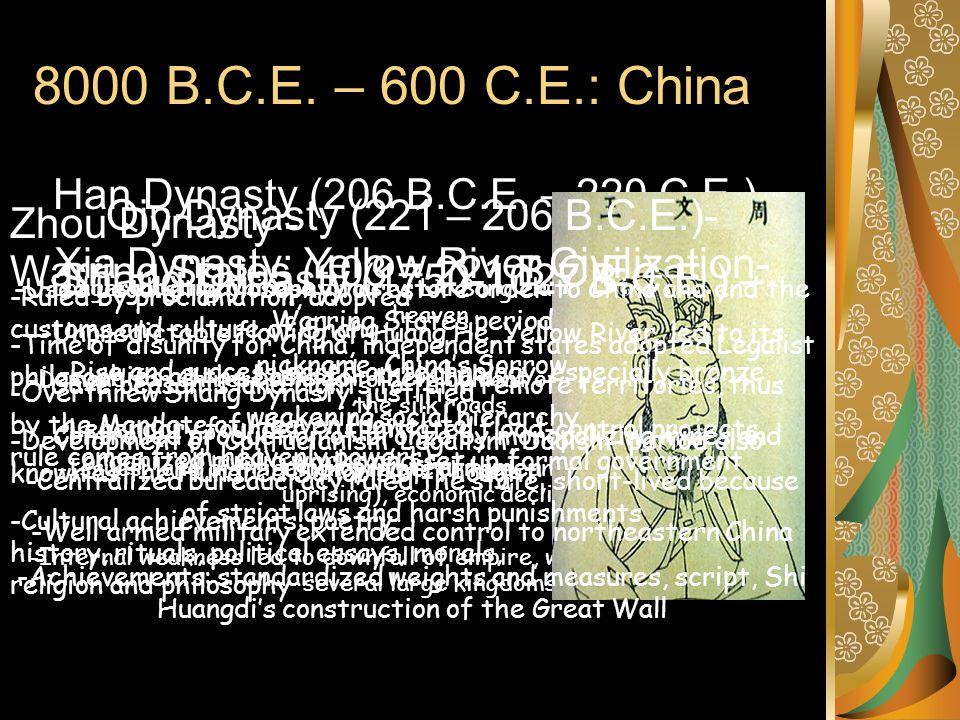 8000 B.C.E. – 600 C.E.: China Han Dynasty (206 B.C.E. – 220 C.E.)-