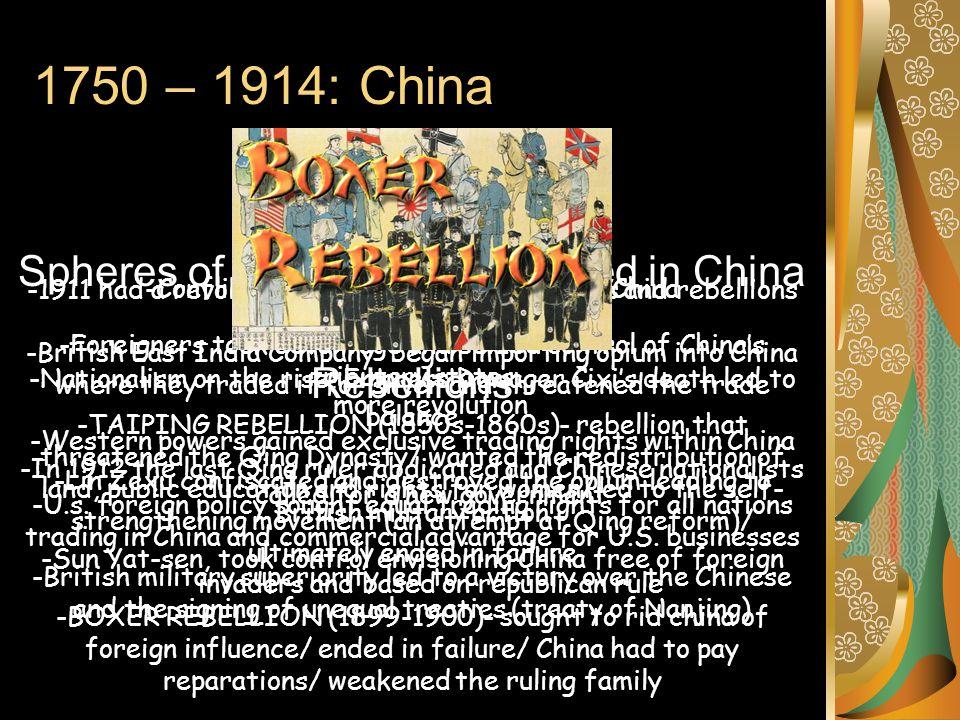 1750 – 1914: China Fall of the Qing Opium War