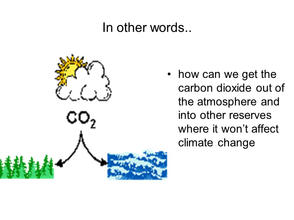 In other words.. how can we get the carbon dioxide out of the atmosphere and into other reserves where it won't affect climate change.