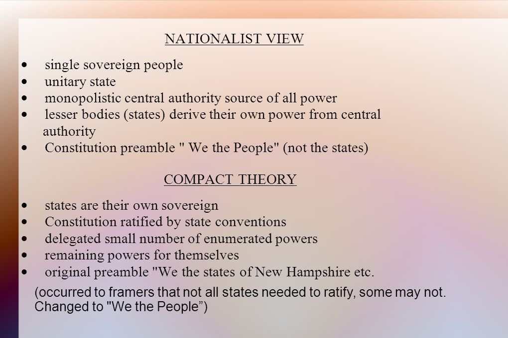 NATIONALIST VIEW ·. single sovereign people ·. unitary state ·