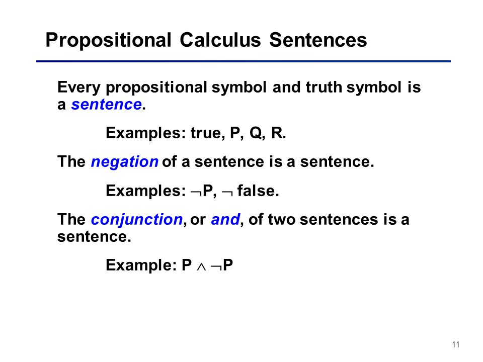 Propositional Calculus Sentences