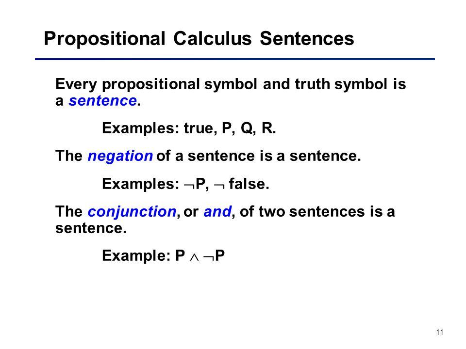 Propositional Calculus Sentences