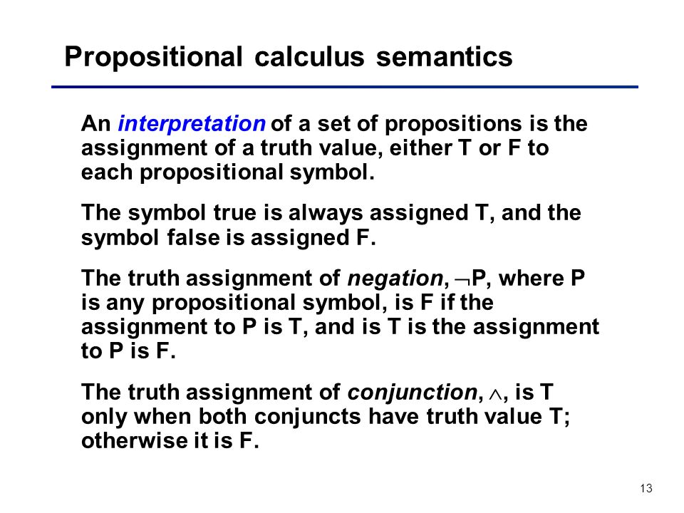 Propositional calculus semantics