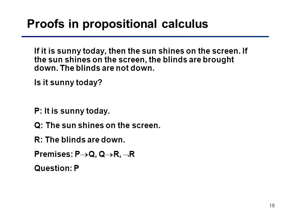 Proofs in propositional calculus