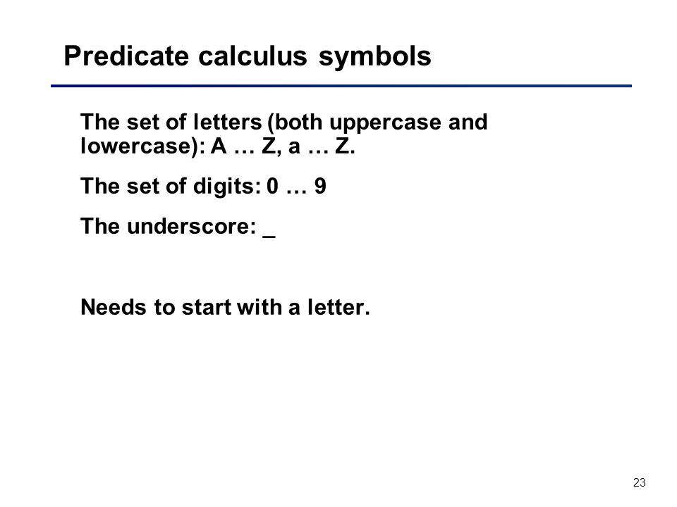 Predicate calculus symbols