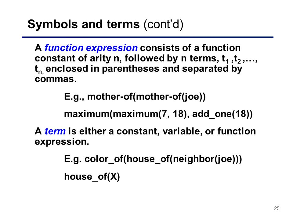 Symbols and terms (cont'd)