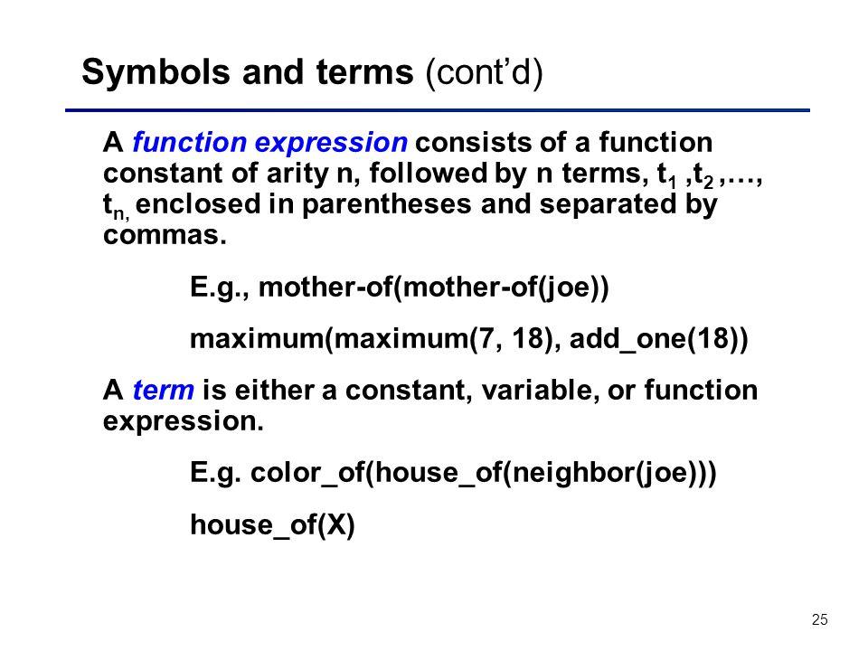 Symbols and terms (cont'd)