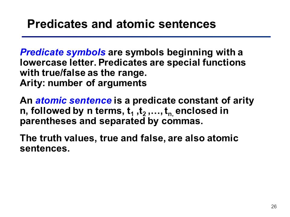Predicates and atomic sentences