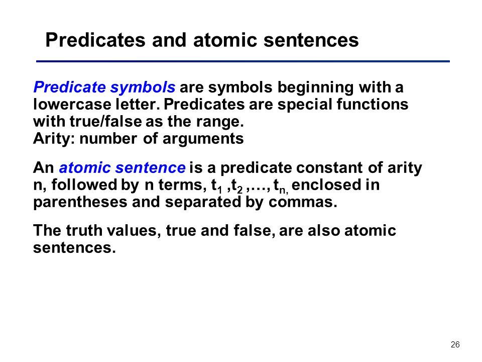 Predicates and atomic sentences