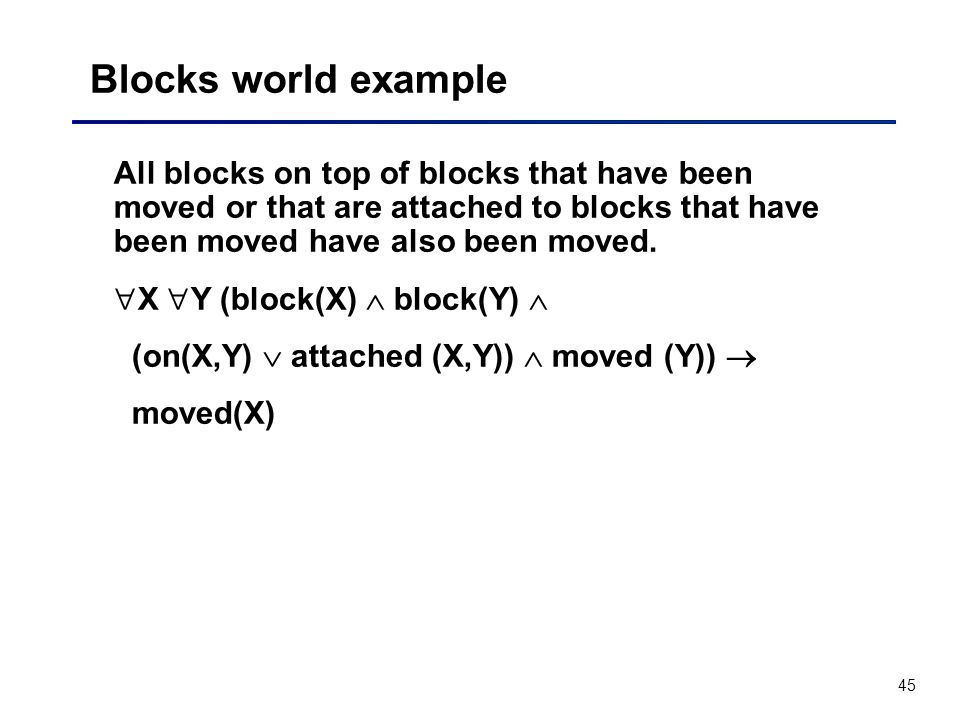 Blocks world example All blocks on top of blocks that have been moved or that are attached to blocks that have been moved have also been moved.