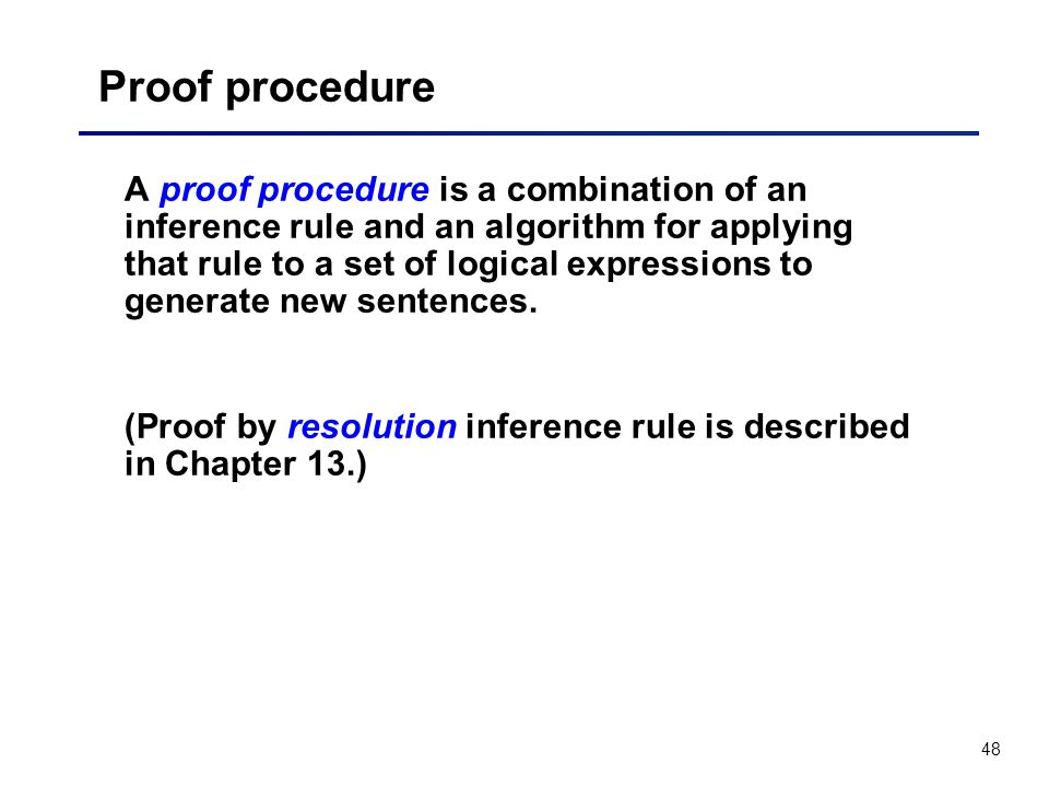 Proof procedure