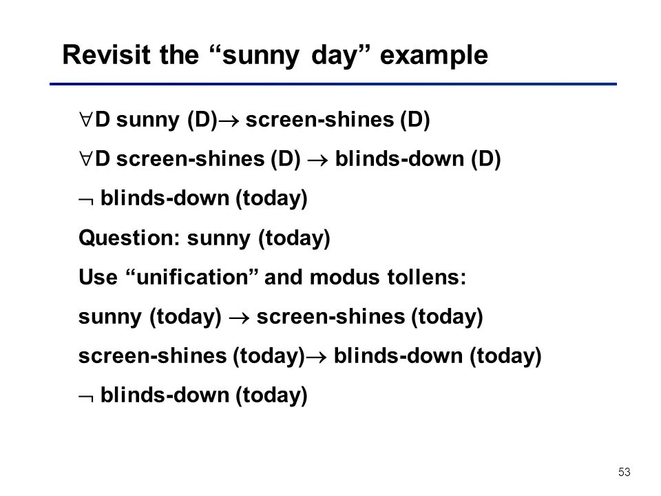 Revisit the sunny day example