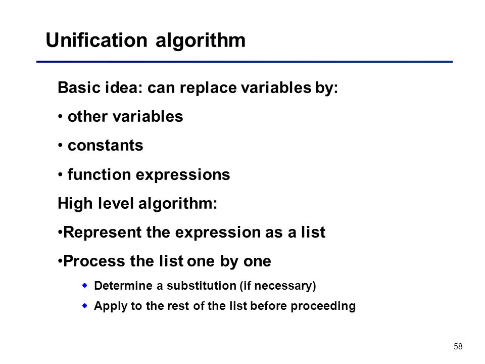 Unification algorithm
