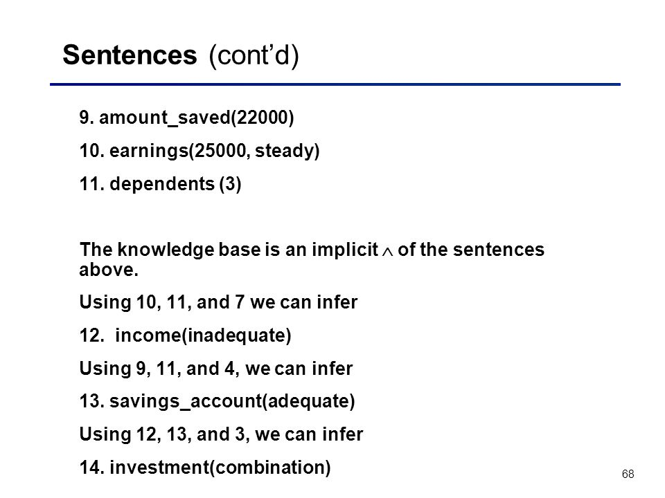 Sentences (cont'd) 9. amount_saved(22000) 10. earnings(25000, steady)