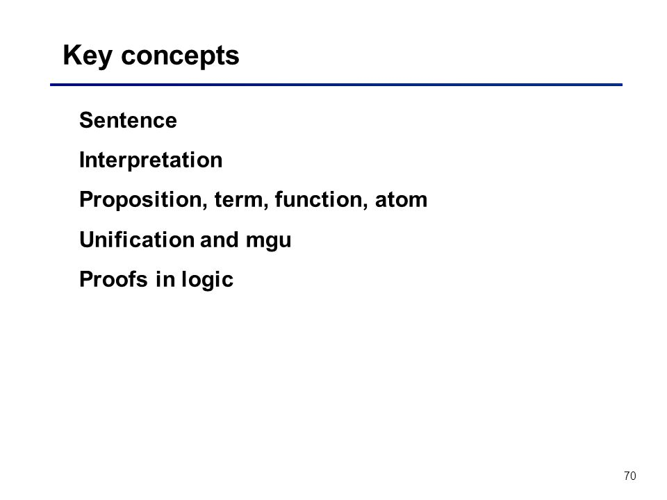 Key concepts Sentence Interpretation Proposition, term, function, atom