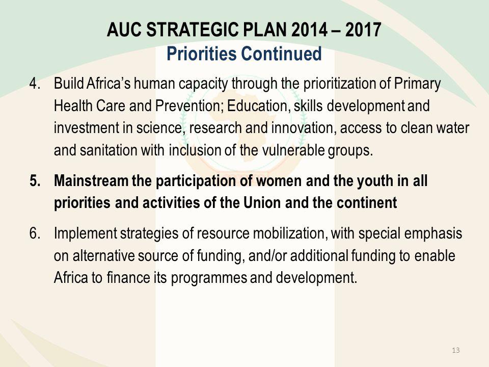 AUC STRATEGIC PLAN 2014 – 2017 Priorities Continued