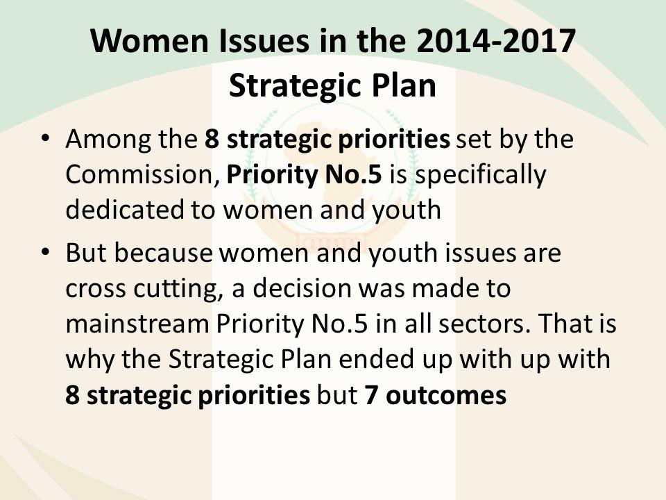 Women Issues in the 2014-2017 Strategic Plan