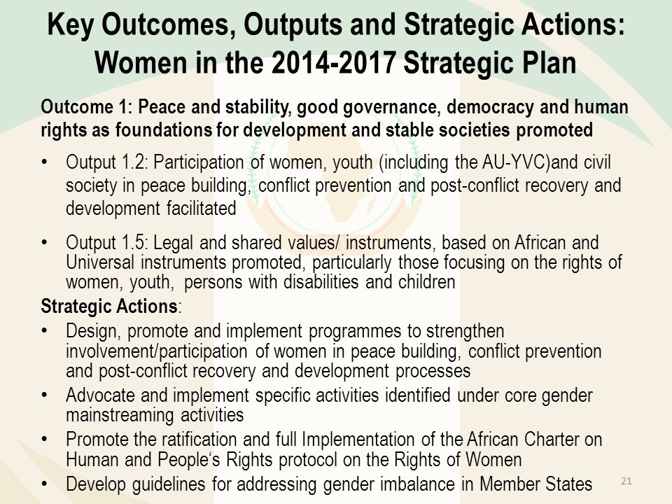 Key Outcomes, Outputs and Strategic Actions: Women in the 2014-2017 Strategic Plan