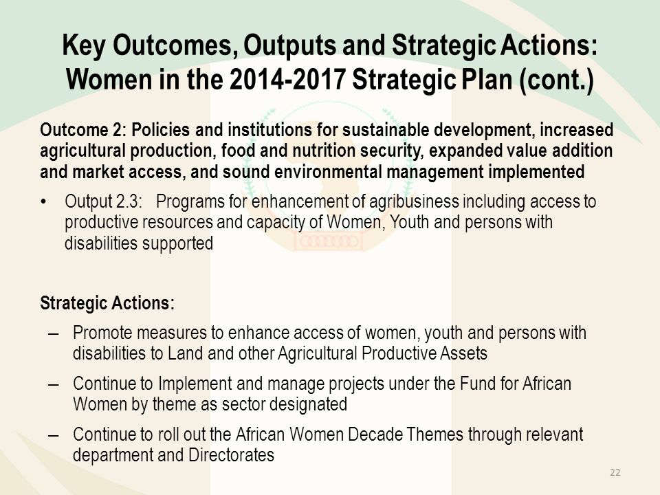Key Outcomes, Outputs and Strategic Actions: Women in the 2014-2017 Strategic Plan (cont.)