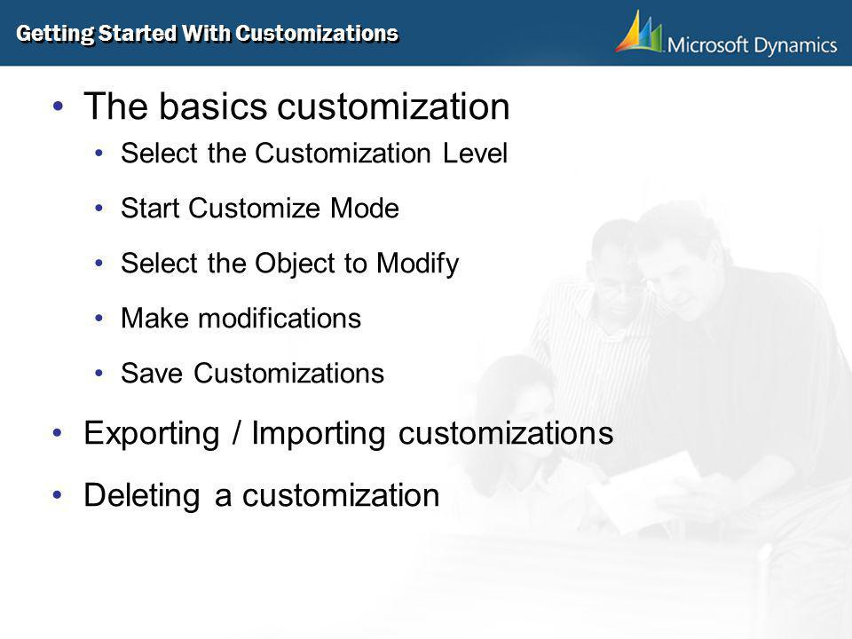 Getting Started With Customizations