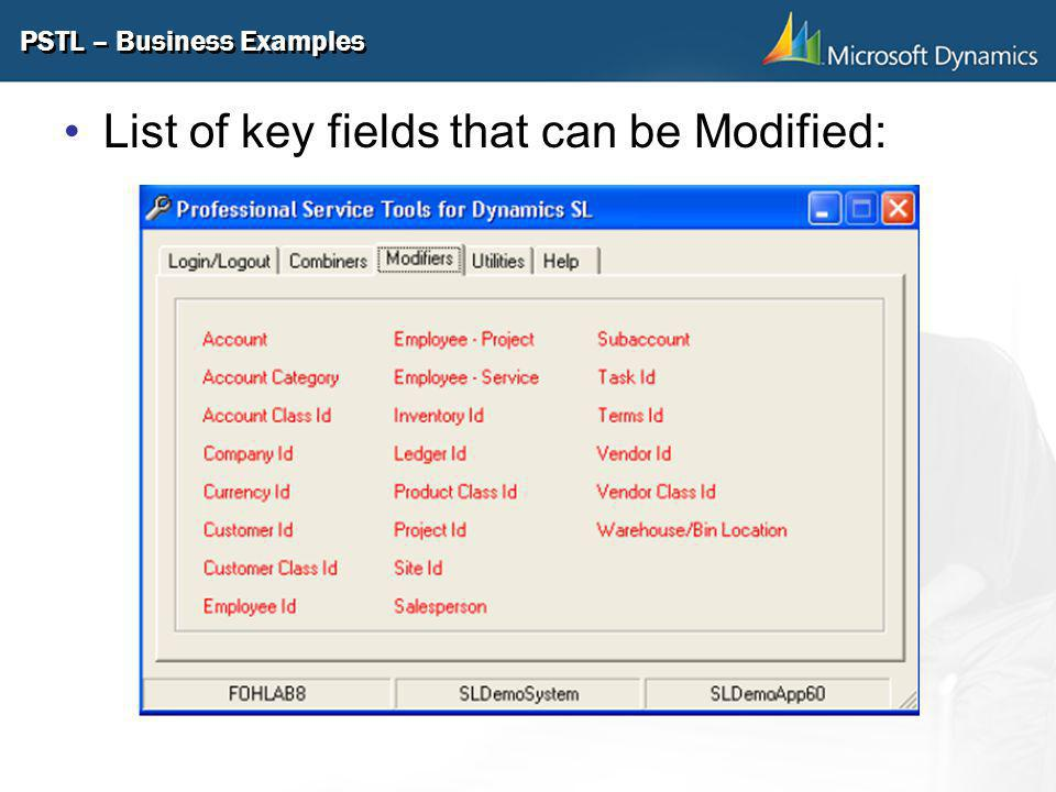 PSTL – Business Examples