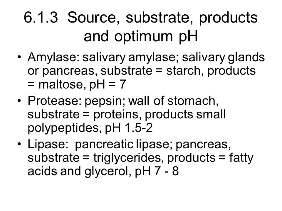 6.1.3 Source, substrate, products and optimum pH