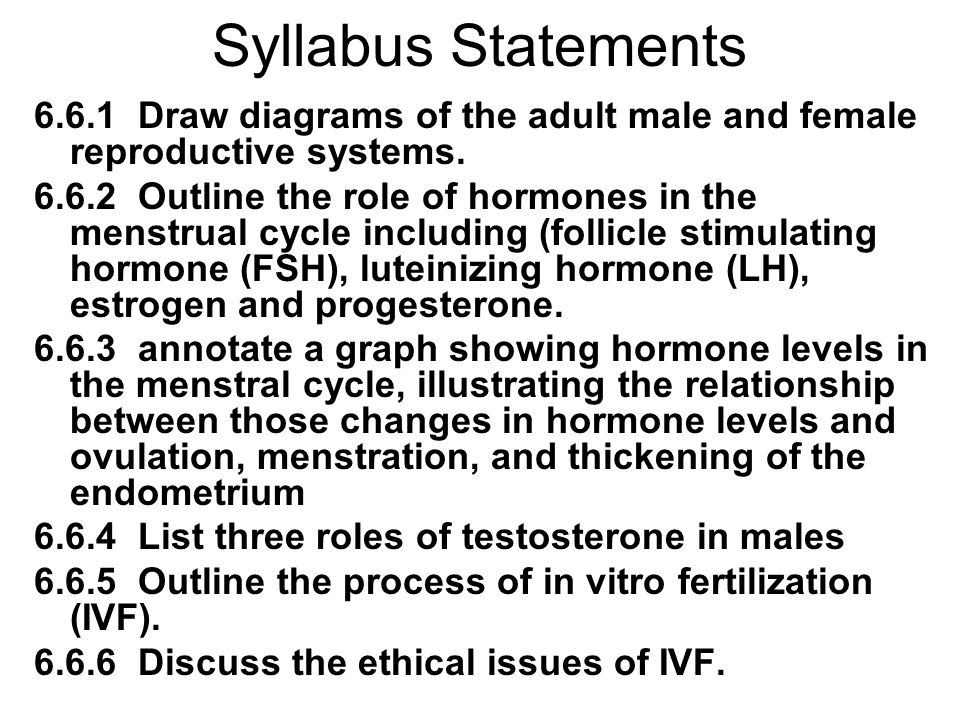 Syllabus Statements 6.6.1 Draw diagrams of the adult male and female reproductive systems.