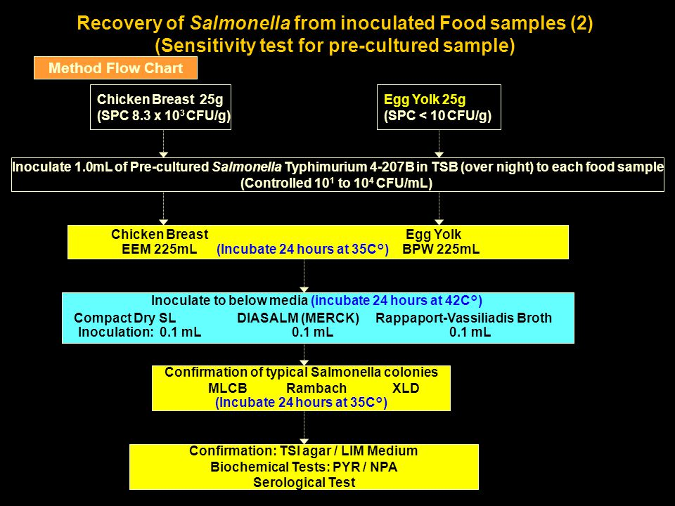 Recovery of Salmonella from inoculated Food samples (2) (Sensitivity test for pre-cultured sample)
