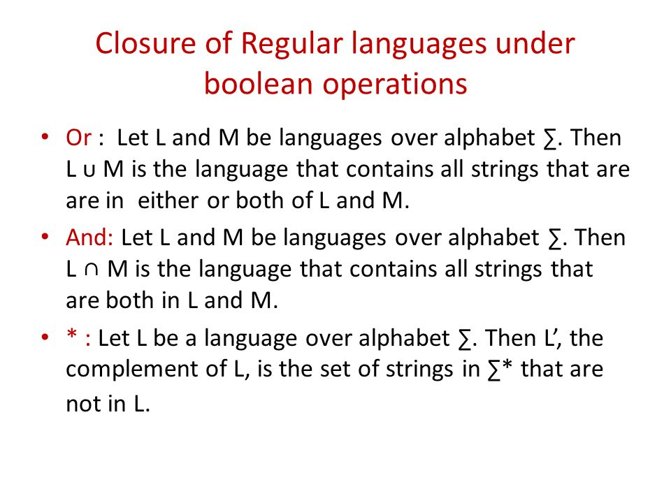 Closure of Regular languages under boolean operations