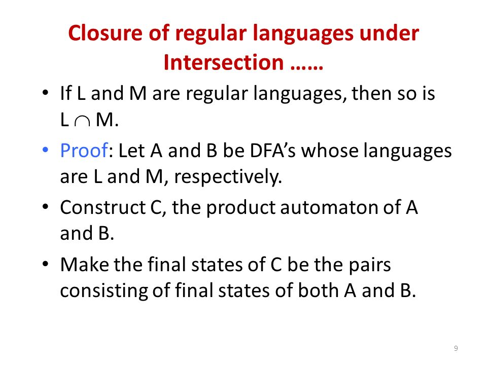 Closure of regular languages under Intersection ……