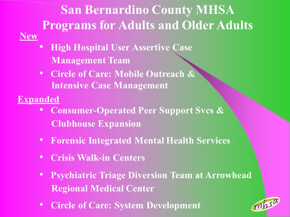 San Bernardino County MHSA Programs for Adults and Older Adults