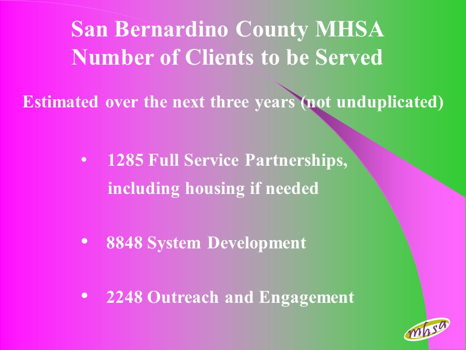 San Bernardino County MHSA Number of Clients to be Served