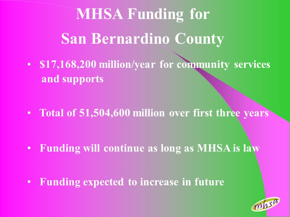 MHSA Funding for San Bernardino County