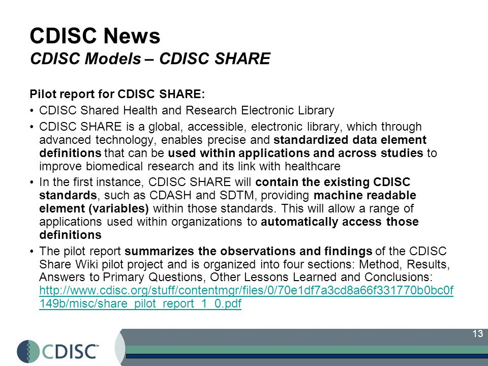 CDISC News CDISC Models – CDISC SHARE