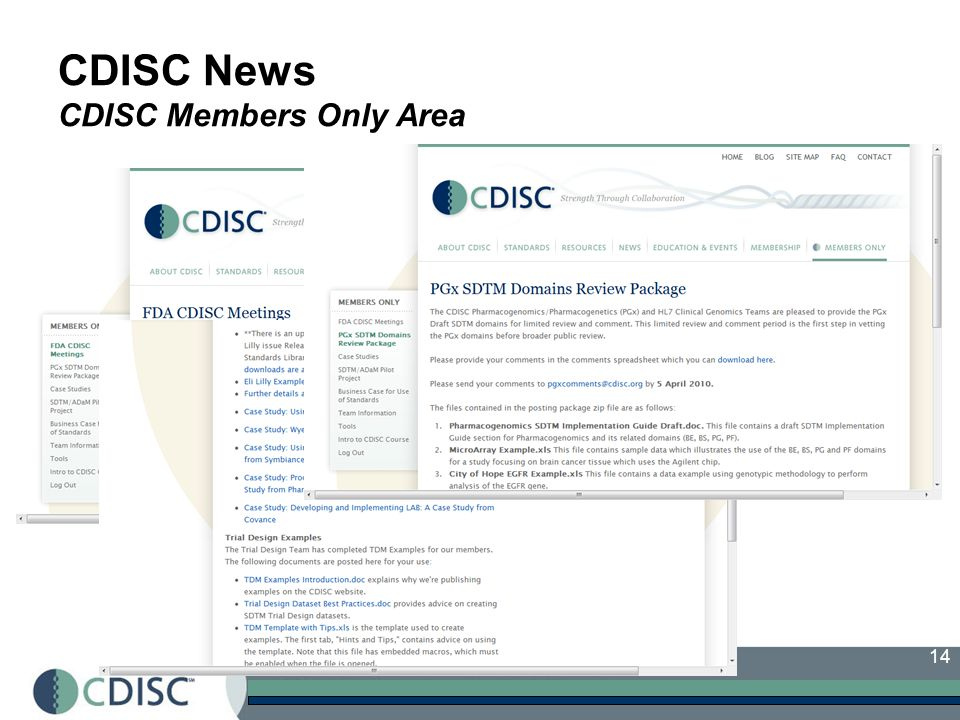 CDISC News CDISC Members Only Area