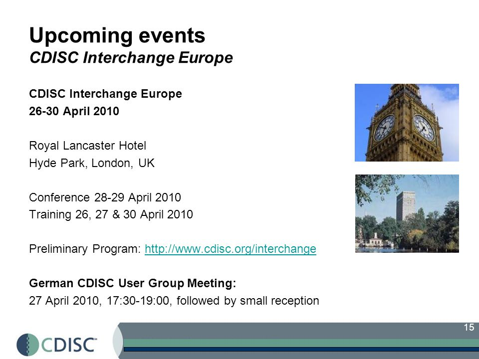 Upcoming events CDISC Interchange Europe