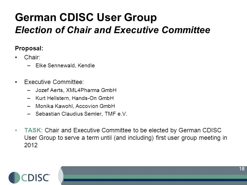 German CDISC User Group Election of Chair and Executive Committee
