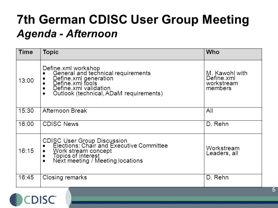 7th German CDISC User Group Meeting Agenda - Afternoon