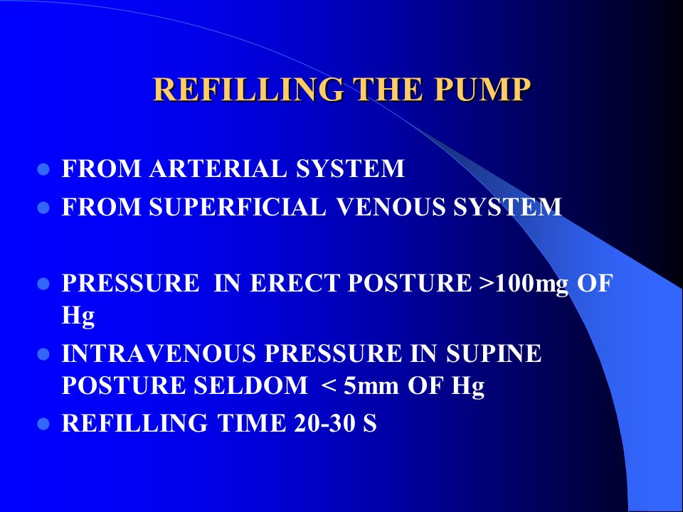 REFILLING THE PUMP FROM ARTERIAL SYSTEM FROM SUPERFICIAL VENOUS SYSTEM