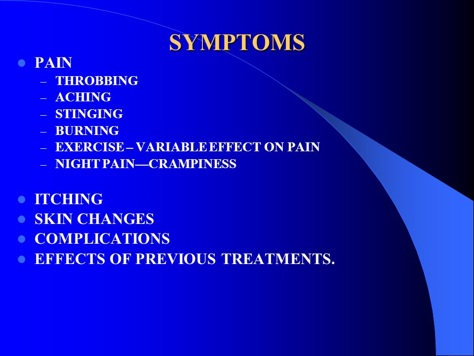 SYMPTOMS PAIN ITCHING SKIN CHANGES COMPLICATIONS