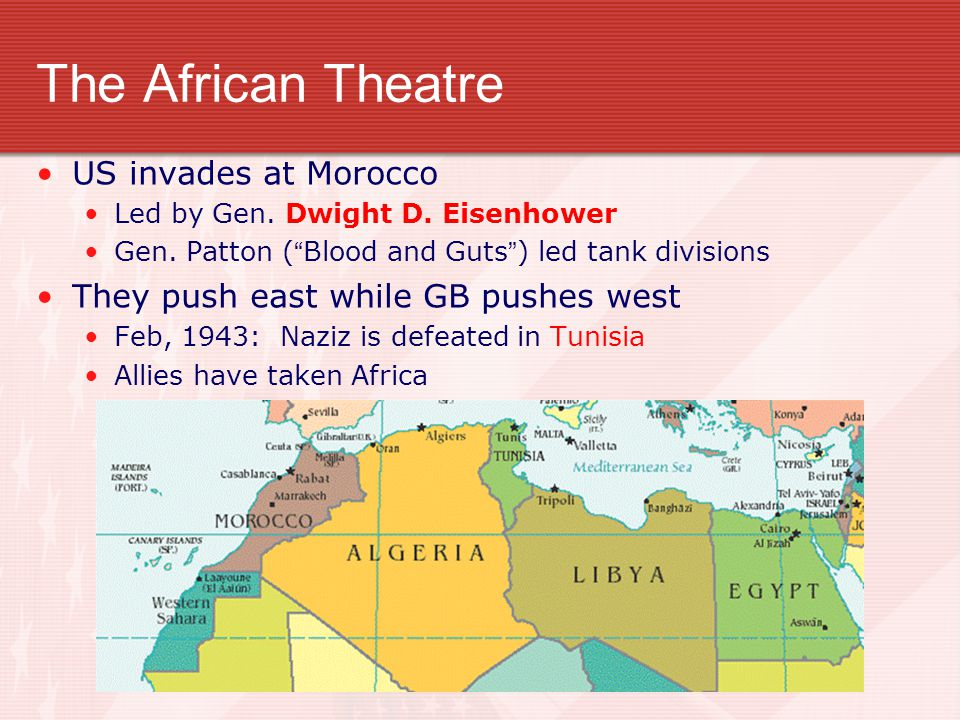 The African Theatre US invades at Morocco