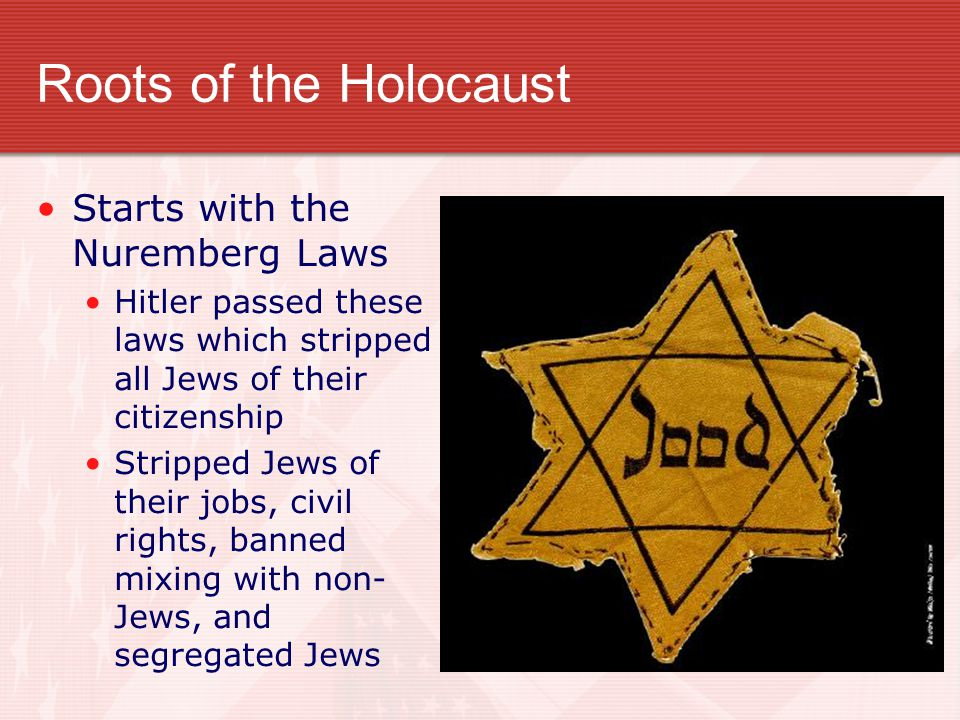 Roots of the Holocaust Starts with the Nuremberg Laws