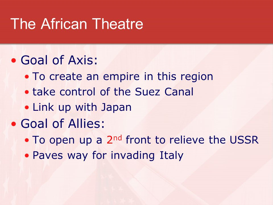 The African Theatre Goal of Axis: Goal of Allies: