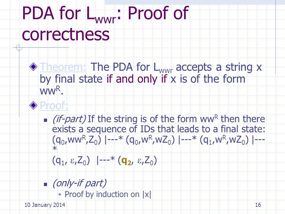 PDA for Lwwr: Proof of correctness