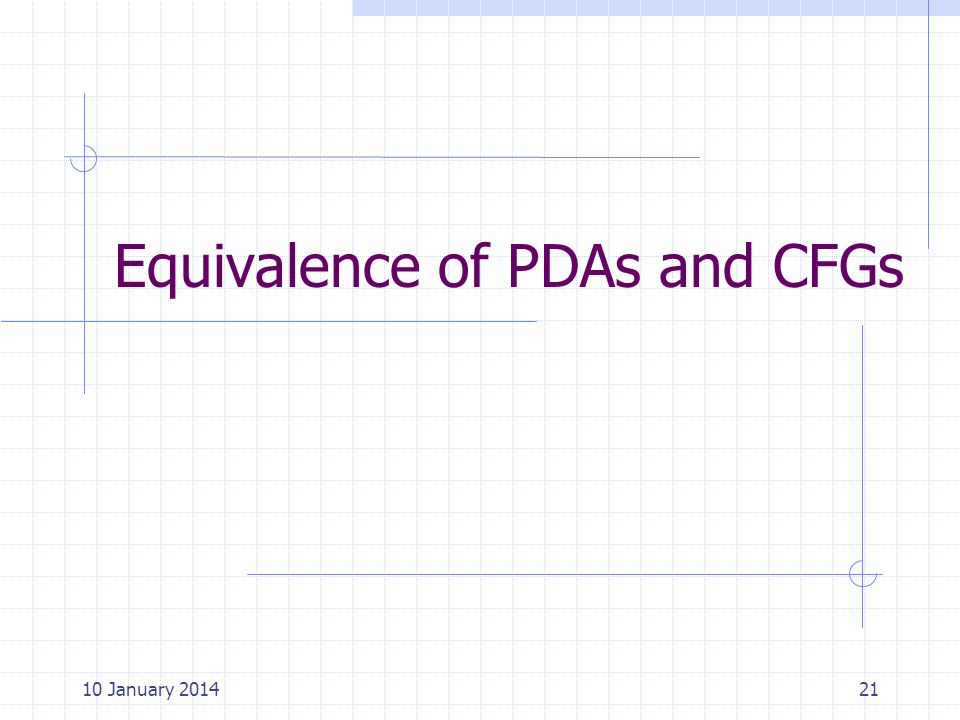 Equivalence of PDAs and CFGs